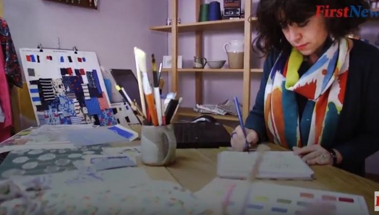 lady designing textiles