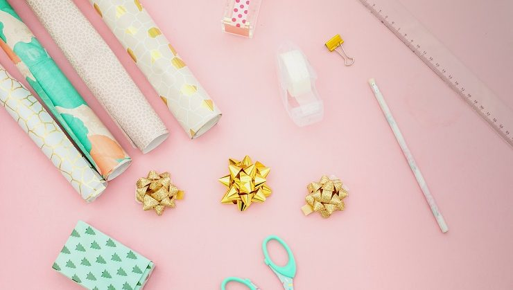 Gift wrap, scissors, tape