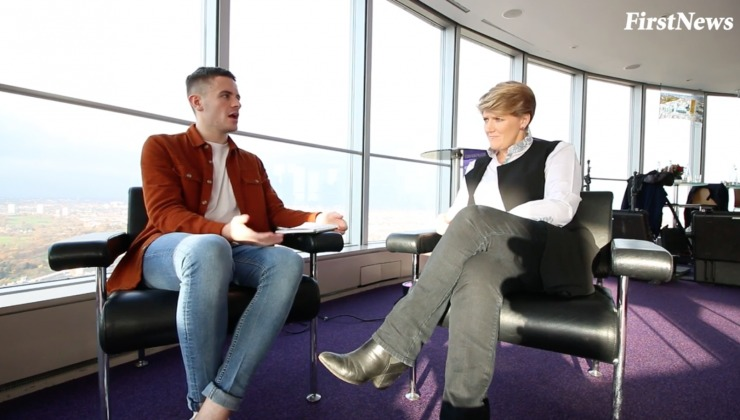 Clare Balding being interviewed by First News